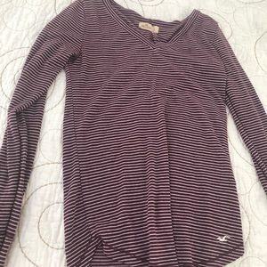 Maroon and white striped shirt from Hollister